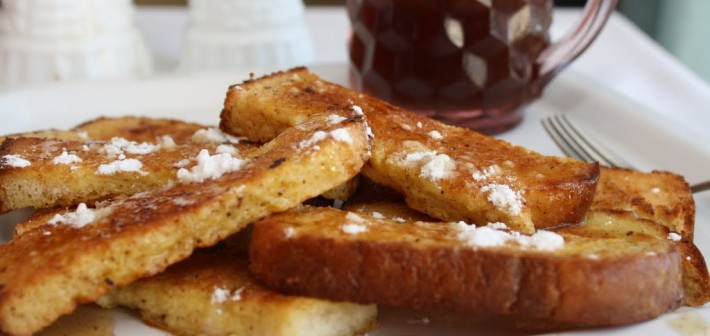Eggnog French Toast with Brown Butter Maple Syrup